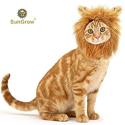 SunGrow Lion Mane for Dog - Pet Wig with Ears - Adjustable Cat Hat with Hook-and-Loop Fastener - Costume for Pet Festival, Party, Fancy Dress for Pet Owners - Realistic, Hilarious Headgear from MARIMO PET STORE