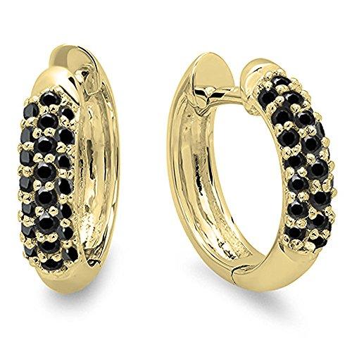 Dazzlingrock Collection 0.30 Carat (ctw) 14K Round Black Diamond Ladies Pave Set Huggies Hoop Earrings 1/3 CT, Yellow Gold