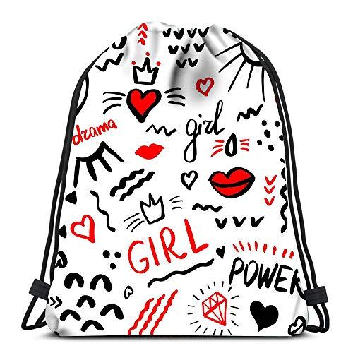Randell Gym Drawstring Backpack Sport Bag Fashion Power Girl Brush Strokes Wallpaper Lightweight Shoulder Bags Travel College Rucksack for Women Men