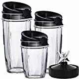 Nutri Ninja Blender Cups and Blade (7-FINS ONLY) Set | 7-Piece Replacement Parts & Accessories for Nutri Ninja Auto iQ BL482 BL642 NN102 BL682 BL2013 Blenders