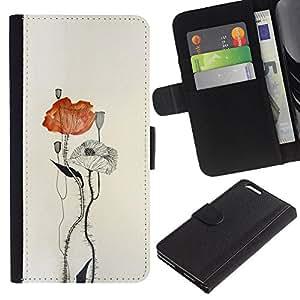 LASTONE PHONE CASE / Lujo Billetera de Cuero Caso del tirón Titular de la tarjeta Flip Carcasa Funda para Apple Iphone 6 PLUS 5.5 / poppy flower paper watercolor art