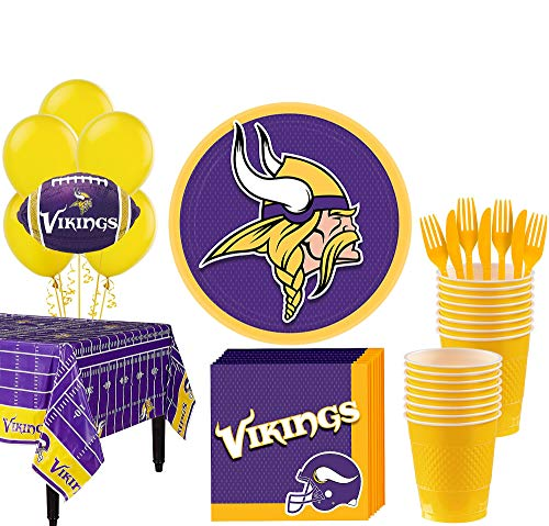 Minnesota Vikings Party Supplies (Party City Minnesota Vikings Super Party Supplies for 18 Guests, Include Plates, Napkins, Table Cover, and)