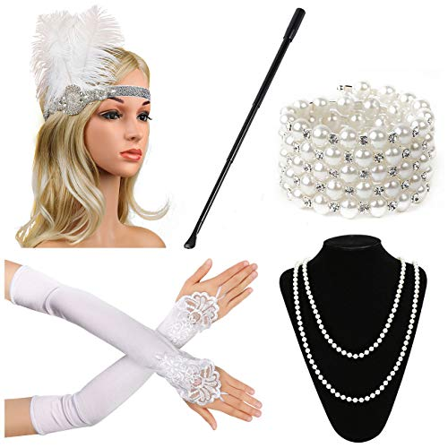 (Beelittle 1920s Accessories Set for Women Flapper Headband Pearl Necklace Gloves Cigarette Holder for Great Gatsby Party (M10))