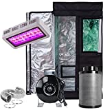 PrimeGarden 24''X24''X48''(Green Window) Grow Tent+LED 300W Full Spectrum Grow Light+4'' Inline Fan Carbon Filter Ducting Combo Hydroponic Indoor Growing System Complete Package