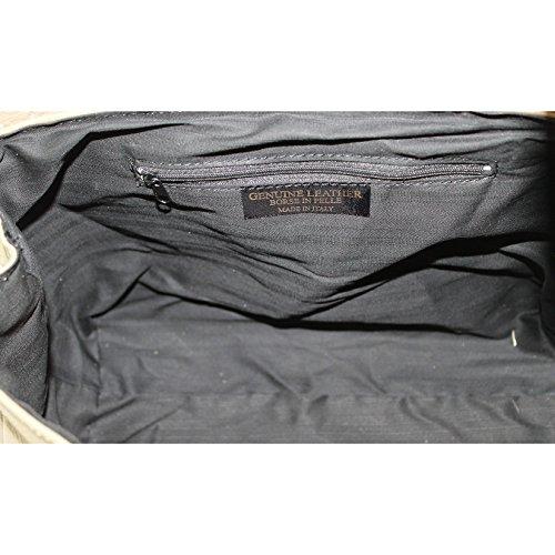 34x23x13 italien fabriqué en Italie véritable en et gère CTM cm femmes bandoulière Boue main Sac à cuir T8Wv460qw