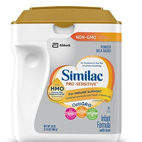 Similac Abbott Pro-Sensitive Non-GMO Powder Infant Formula with Iron with 2'-FL HMO for Immune Support 34 oz (Various Packs Available) … (4 pack)