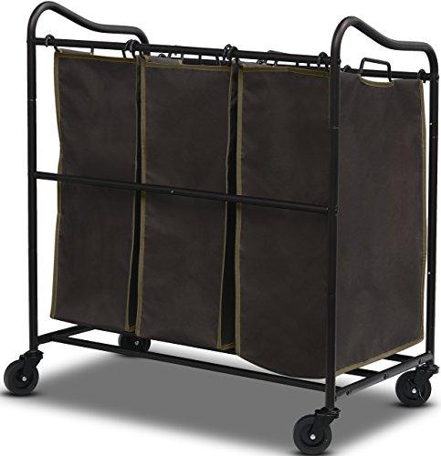 SimpleHouseware Heavy-Duty 3-Bag Laundry Sorter Rolling Cart Bronze