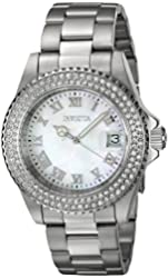 Invicta Womens Angel Swiss Mother of Pearl White Dial 40mm Crystals Bezel Date Watch 19873