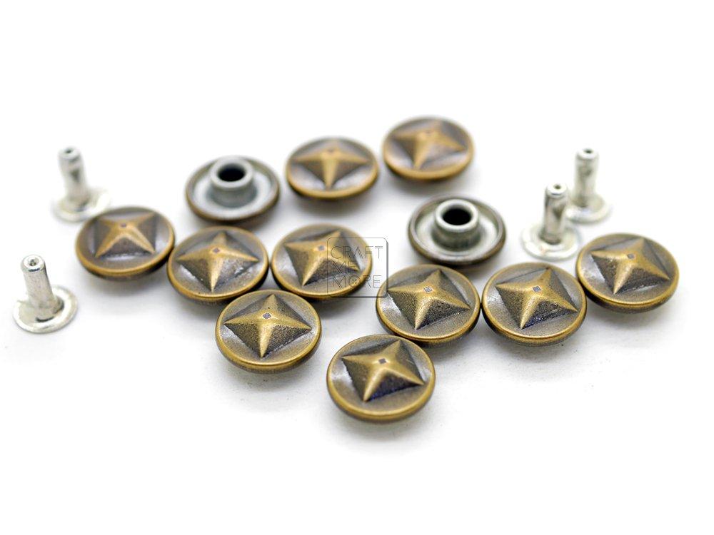 CRAFTMEmore 6 Designs 3/8' Antique Brass Round Rapid Rivet Vintage Studs for Bags Belts Bracelets Leathercraft Decoration (100 pieces, Snowflake) HQR82