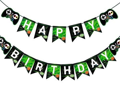 Video Game Happy Birthday Banner Gaming Party Supplies For Boy Gamers Birthday Party -