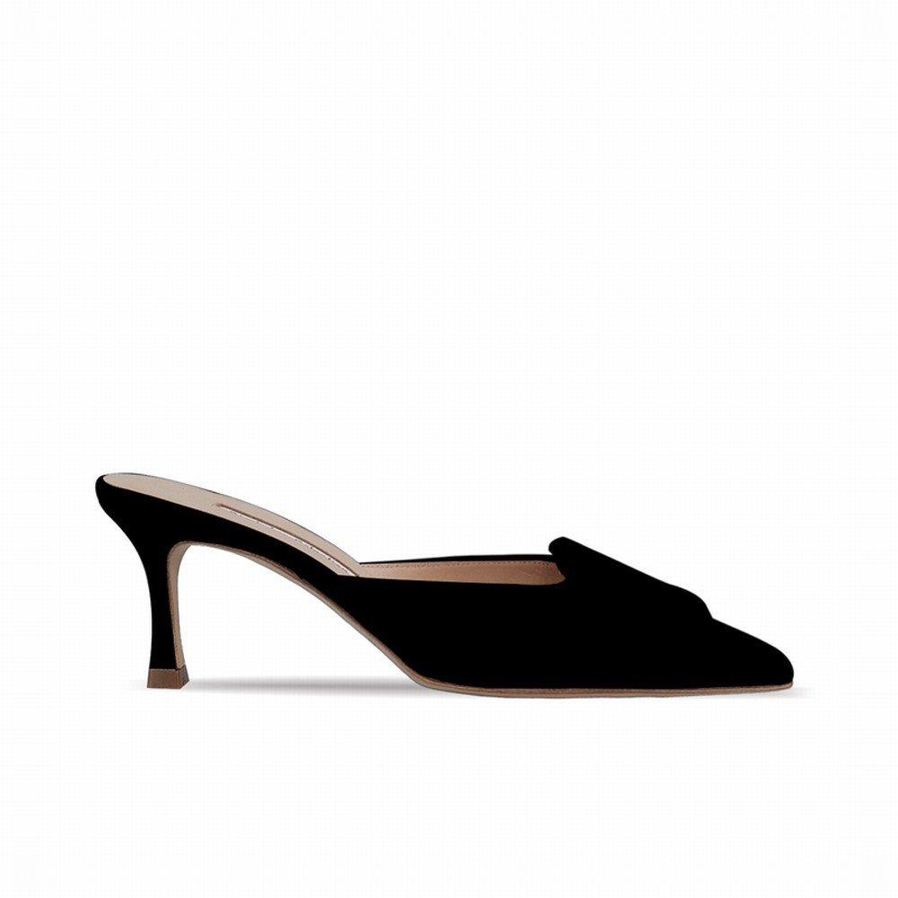 DHG Fibbia laterale a punta Scarpe Muler con tacco alto pigre mezze pantofole femminili,Nero,40  -