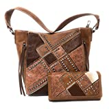 Set of Cowhide Hair Partial Leather Concealed Carry Zip Top Shoulder Bag Tote Purse And Western Styling With Matching Wallet (Brown)
