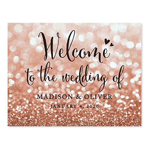 (Andaz Press Personalized Wedding Party Signs, Glitzy Rose Gold Glitter, 8.5x11-inch, Welcome to the Wedding of Bride & Groom, 1-Pack, Bokeh Colored Party Supplies, Custom Made Any)