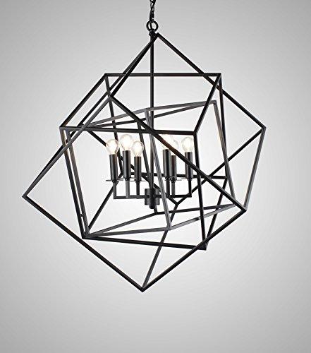 Caged Cubist Pendant Metron Chandelier 6 Light Multifaceted Frame Interlock Black