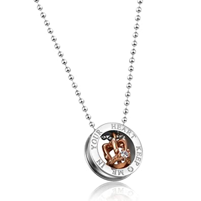 ebd7659fd9 Necklaces & Pendants Royal Crown Stainless Steel Couple Necklace For Lovers Engraved  Keep Me In Your Heart With Popcorn Chain (For Couple) | Amazon.com