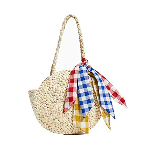 Bolsa ratán bolsa de playa redondo Mujer pajita bolsa de playa bolsa tejida para el hombro en pajita viaje vacaciones ideal regalo para mujer niña–fancylande