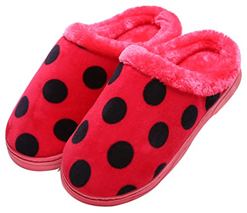 Pantofole Di Casa Pantofole In Pile A Pois Donna Blubi Rosso
