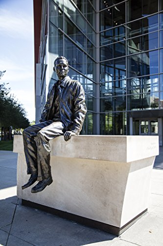 24 x 36 Giclee Print of Artist Chas Fagan's Statue of onetime American Astronaut Neil Armstrong The First Person to Walk on The Moon in 1969 Outside The Neil Armstrong Hall of Engineering Home to