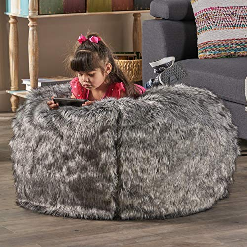 Warrin Furry Glam Faux Fur 3 Ft. Bean Bag by Christopher Knight Home (Dark Grey + Light Grey Streaks)