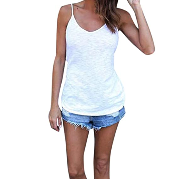 mujer sólidas Las tapas rematan camiseta sin mangas camiseta de las blusas de la blusa (