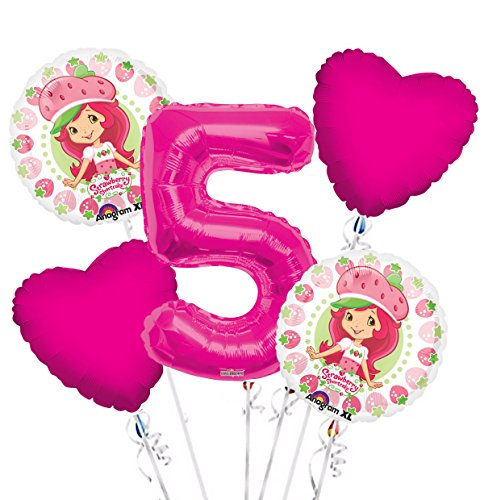 Strawberry Short Cake Balloon Bouquet 5th Birthday 5 pcs - Party Supplies Pink