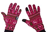 Women's (and Men's) Tech-Touch Gloves for Animal Lovers – Subtle Paw Prints in Stylish Designs (Pink Reindeer, Medium/Large)