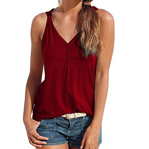 Womens V Neck Tank Tops SADUORHAPPY Solid Color Sleeveless Henley Shirts Button Up Casual Tunic Tees