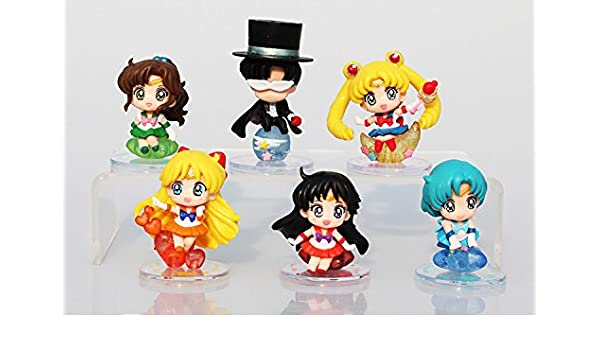 Amazon.com: 6Pcs/Set Anime Cartoon Sailor Moon Tsukino Usagi Tuxedo Mask Sailor Venus Mercury Mars Jupiter PVC Action Figure Model Toy: Toys & Games