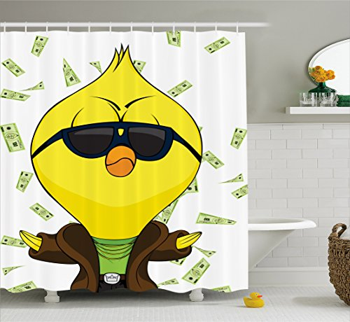 Chicken Shower Curtain by Lunarable, Cartoon Chick with Trench Coat Chains Sunglasses on Hundred Dollar Bills Backdrop, Fabric Bathroom Decor Set with Hooks, 70 Inches, - Dollar Thousand Sunglasses