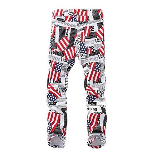 VEZAD American Flag July 4th Pants Men's Casual Trend Printed Pocket Jeans
