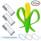 Daystyle 3 PCS Safety Finger Toothbrushes with Case and 1 PC Soft Corn Cob Teethers Training Toothbrushes For babies ,Infants and Toddlers