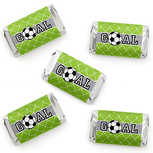 Goaaal - Soccer - Mini Candy Bar Wrapper Stickers - Baby Shower or Birthday Party Small Favors - 40 Count ()