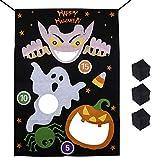 Halloween Bean Bag Toss Games Pumpkin Ghost Spider 3 Bean Bags - Halloween Games for Kids Party Decoration (Black-Ghost Pumpkin)