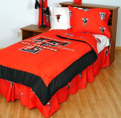 College Covers Texas Tech Red Raiders Bed in a Bag Queen - with White Team Sheets
