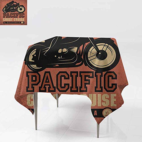 SONGDAYONE Colorful Square Tablecloth Adventure Pacific Coast Cruise California Motorcycle Driving Journey Traveling Hand Drawn Indoor and Outdoor Tablecloth Ruby Black W63 -