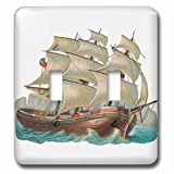 """3dRose lsp_104609_2""""Vintage Antique Pirate Style Ship Nautical Illustration"""" Double Toggle Switch Multicolor"""