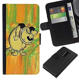 KingStore / Leather Etui en cuir / LG G2 D800 / Cuento de hadas del bosque cómico dibujo dibujos animados de perro