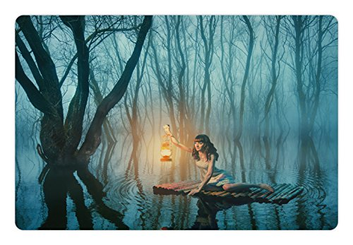 Floating Lantern Rubber - Lunarable Gothic Pet Mat for Food and Water, Fairy Tale Woman with Lantern Floating on Lake Rustic Dress in Misty Forest, Rectangle Non-Slip Rubber Mat for Dogs and Cats, Turquoise Peach