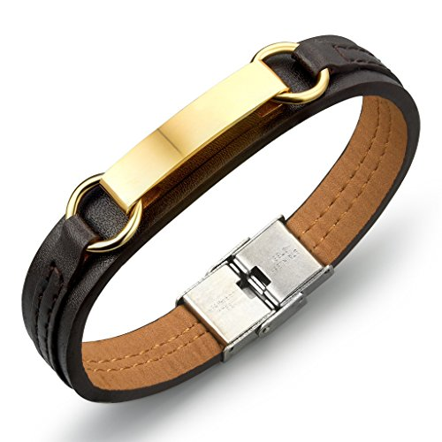 Fashion Ahead Gold Stainless Steel Lords Prayer Cross Leather Bracelet for Men ,Brown,12mm,8.07