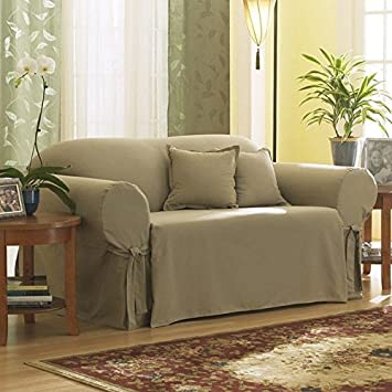 sure fit cotton duck loveseat slipcover linen sf26665