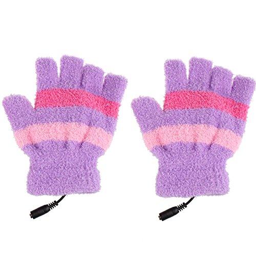 Yliquor USBウール 冬用暖かい手袋 ソフトストライプ 指なし加熱手袋 レディース メンズ ガールズ ボーイズ B07H7YKTYV パープル パープル