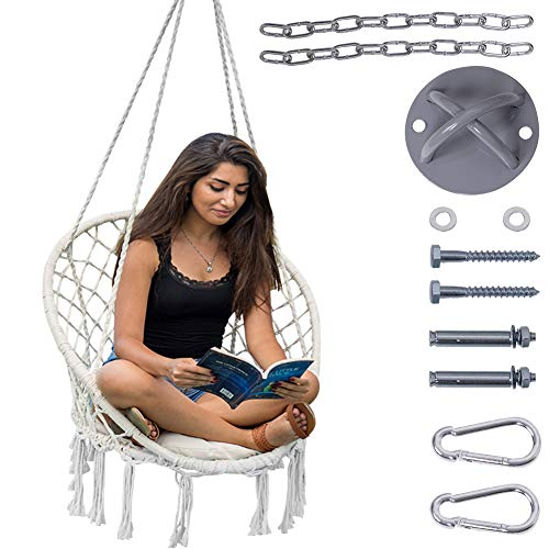 Lazy Daze Hammocks Handwoven Cotton Rope Hammock Chair Macrame Swing with Cushion and Wall/Ceiling Mount, 300 Pounds Capacity, for Indoor, Garden, Patio, Yard (Natural) (Chair Room Swing)