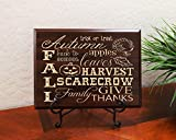 Fall, Autumn, Trick or Treat, Back to School, Apples, Leaves, Harvest, Scarecrow, Family, Give Thanks Decorative Carved Wood Sign Quote, Faux Cherry