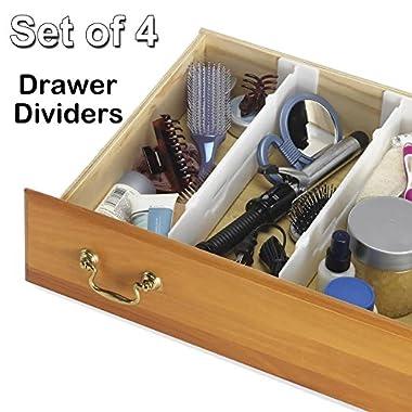 Whitmor 6025-3927 Adjustable Drawer Dividers, - Set of 4
