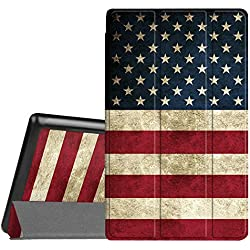 Fintie Slim Case for All-New Amazon Fire HD 8 Tablet (7th Generation, 2017 Release), Ultra Lightweight Slim Shell Standing Cover with Auto Wake / Sleep, US Flag