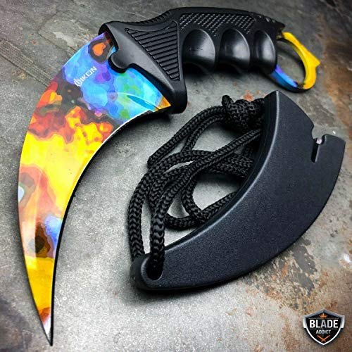 CSGO Case Hardened Doppler Karambit Hawkbill Full Tang Neck Knife w/ABS Sheath (Limited Edition)