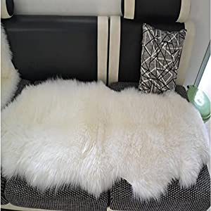 Exceptional Sheepskin Rug Double Pelt Natural White Fur 2x6