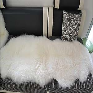 Amazon.com: Sheepskin Rug Double Pelt Natural White Fur