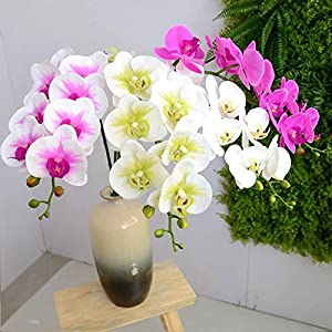 """JAROWN 2pcs 9 Heads Artificial Phalaenopsis Orchid 37.8"""" Real Touch Letax Flowers Butterfly Orchid for Home Office Decoration 52"""