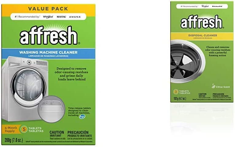 Affresh Washing Machine Cleaner | Cleans Front Top Load Washers, Including HE, 5 Tablets & Garbage Disposal Cleaner | Removes Odor Causing Residues, U.S. EPA Safer Choice Certified, 3 Tablets